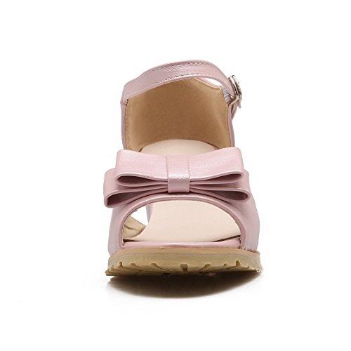 VogueZone009 Donna Finta Pelle Scamosciata Fibbia Punta Aperta Tacco Medio Puro Sandali Rosa