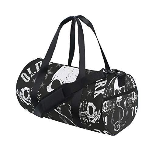 Ahomy Black and While Skull Gym Schultertasche Sporttasche aus Segeltuch Reisetasche