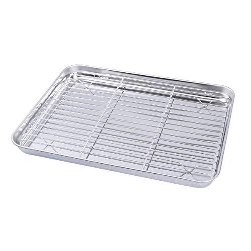 BESTONZON Backblech mit Gestell Edelstahl Backblech Toaster Pfanne mit Kühlrost 31 x 24 x 2,5 cm (Toaster Ofen Backen Pfanne)