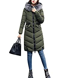 Donne lunga Piumino Cappotto Cappuccio Cappotto di cotone grande colletto  Esercito verde XL e4595028d06