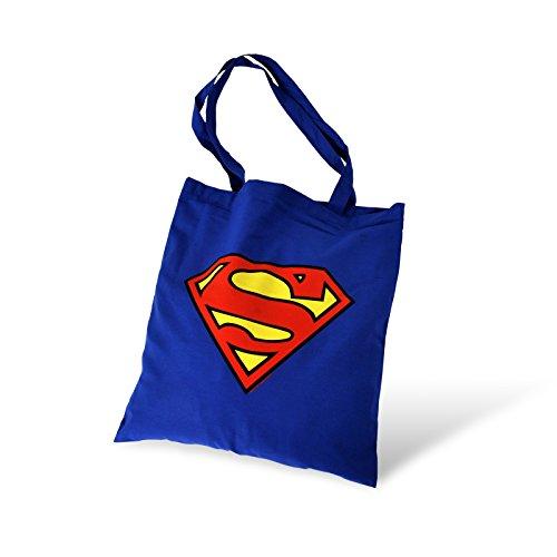 Superman Beutel DC Comics Stofftasche Tragetasche Baumwolleollbeutel blau (Smallville Justice League Kostüm)