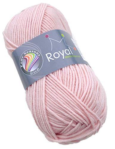Gründl Royal Merino Superwash Wolle Fb. 02 - Puderrosa Merinowolle Extrafine, für Nadelstärke 4-5...
