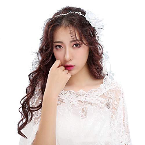 Zcm velo da sposa, ghirlanda di velo fata a mano super fairy garden sensation wreath velo corto accessori abito da sposa (colore : blu)