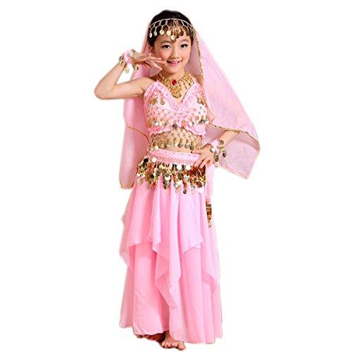 �m Kinder Faschingskostüme Mädchen Prinzessin Chiffon Rosa 128 134 (Prinzessin Jasmin Kostüm Kind)