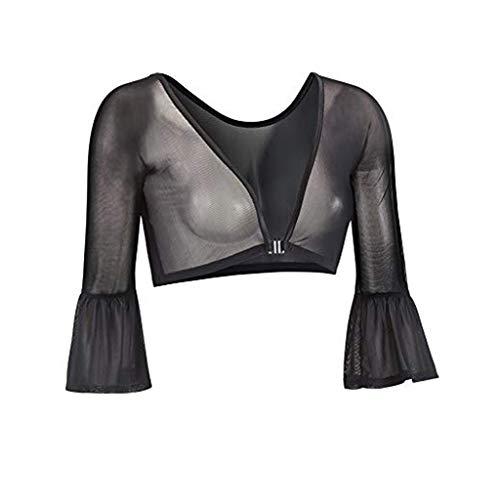 iYmitz Damen Plus Größe Nahtlose Frauen LangeÄrmellänge Shaper Top Mesh Shirt Blusen Tops T-Shirt Sweatshirt Bluse Blusen Pullover(Schwarz,EU-40/CN-L)