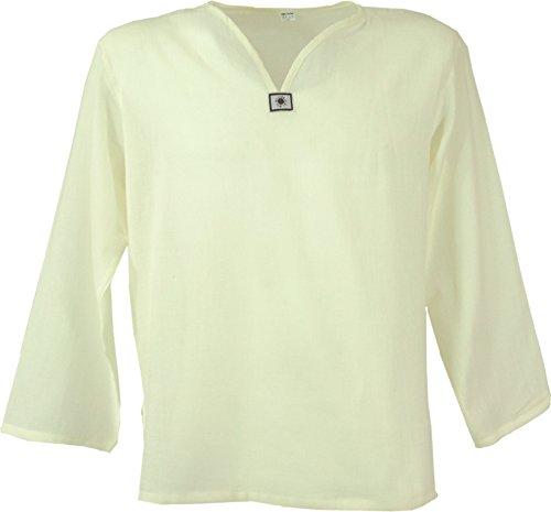 Guru-Shop Yoga Hemd, Goa Hemd, Herren, Naturweiß, Baumwolle, Size:L, Männerhemden Alternative Bekleidung
