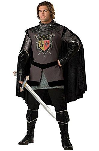 Schwarzer Ritter-Kostüm für Herren - Deluxe L