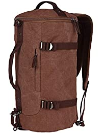FUR JADEN Canvas Brown Duffle Travel Bag with Backpack Straps and Long Shoulder Strap