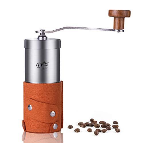 SULIVES - Premium Quality Manuelle Kaffeemühle, Edelstahlmühle Kaffeebohne Handkurbel Keramikmühle kleine Haushaltsmühle Mini Mühle - Gelb