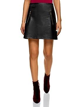 oodji Ultra Mujer Falda de Piel Sintética con Cremalleras Decorativas