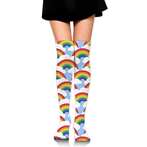 Nifdhkw Knee High Socks Small Circle Rainbow Blue Skies Long Socks Boot Stocking Compression Socks For Women -