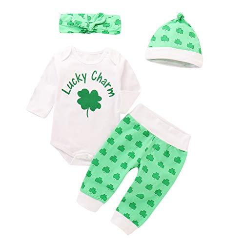 Irish Baby-outfits (Amosfun ST. Patricks Day Baby-Outfit mit Kleeblatt, langärmlig, Hose, Stirnband und Hut, 70 cm, Weiß, Baumwolle, weiß, 90 cm)
