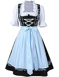 KOJOOIN Trachten Damen Dirndl Set - Midi Trachtenkleid Kurzarm Dirndlbluse für Oktoberfest - DREI Teilig: Kleid, Bluse, Schürze (Schwarz - Hellblau L)