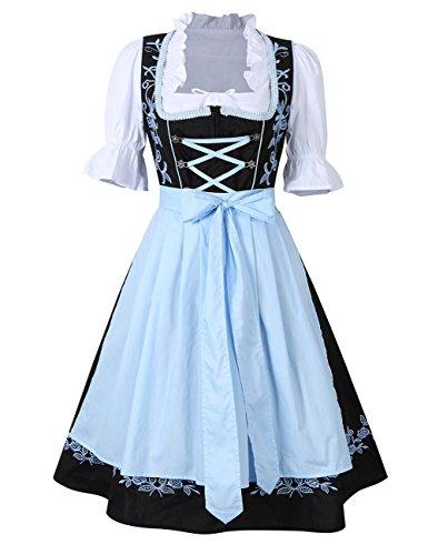 KoJooin Trachtenkleid midi Dirndl Set 3 Teilig mit Bluse Schürze Damen Kleid für Oktoberfest (42, Schwarz-Blau)