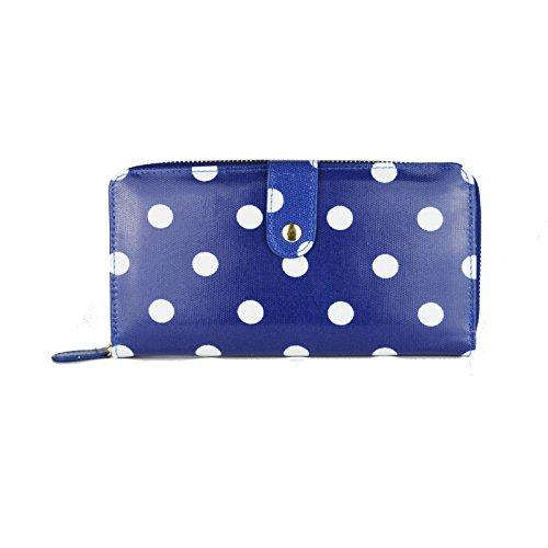Miss Lulu - Portafoglio con zip in tessuto cerato, motivo a pois Big Polka Dots Blue