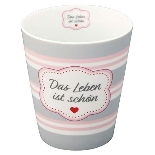 Krasilnikoff HM365 Mug/Becher/Tasse - Das Leben ist schön - Porzellan - 330 ml -