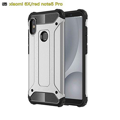 xinyunew Funda Xiaomi Redmi Note 5 Pro, 360 Grados Protección +Vidrio Templado Protector Pantalla Silicona Caso Cover Case Carcasas TPU + plastico Anti Arañazos de Protectora - Plata
