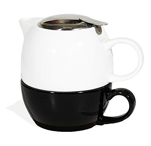 Janazala set da tè per una persona, teiera con tè infusore e tazza di tè, regalo festa anniversario, regali compleanno per la mamma, papà e donna pacco regalo, porcellana, rosso/nero
