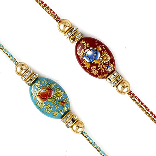 Aapno Rajasthan Set of 2 Floral Enamel Work Rakhi with American Diamonds