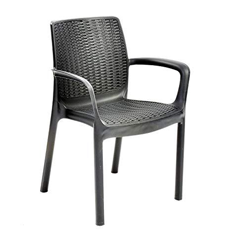 VISCIO TRADING Chaise résine Bali Monobloc gris avec accoudoirs