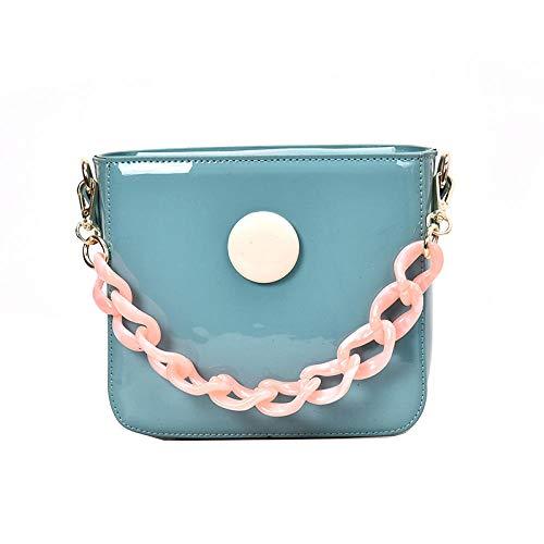Fyyzg einzelne Schulter Messenger Bag tragbare kleine quadratische koreanische Mode einzelne Schulter malen glänzendes Gesicht Handtasche - blau