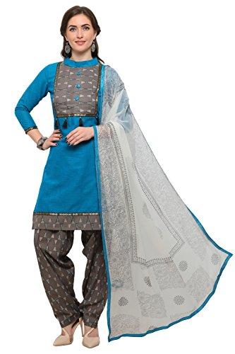 EthnicJunction Women\'s Cotton Dress Material (EJ1180-88007_Free Size_Maya Blue)