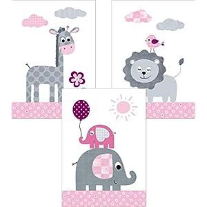 LALELU-Prints | A4 Bilder Kinderzimmer Poster | Zauberhafte Dschungel-Tiere rosa | Babyzimmer Deko Junge Mädchen | 3er…