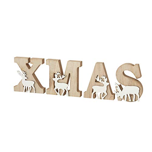 B&B XL Buchstaben X M A S Holz Xmas Schriftzug Aufsteller Holzdeko Weihnachtsdeko Elche Hirsche Rehe 4tlg