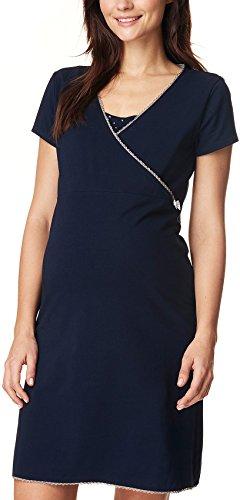 Noppies Damen Dress nurs ss Kimm 66610 Umstandsnachthemd, Mehrfarbig (Dark Blue C165), 36 (Herstellergröße: S)