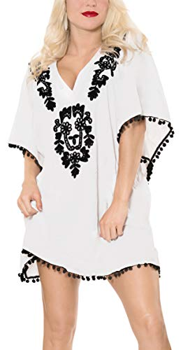 LA LEELA super glatt Rayon floral bestickten tiefen Hals pom pom Badeanzug floral Hawaiian 4 in 1 Strand-Bikini-Vertuschung Tunika Grundkleidbadebekleidung Resort tragen Frauen Kaftan Weiß - Palazzo 4 Licht