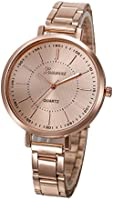 Geneva Platinum Analogue Rose Gold Dial Women'S Watch- Gp-338