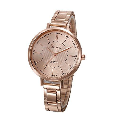 Geneva Platinum Analogue Rose Gold Dial Women'S Watch- Gp-338