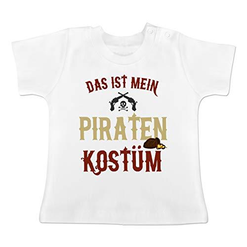 Karneval und Fasching Baby - Das ist Mein Piraten Kostüm - 3-6 Monate - Weiß - BZ02 - Baby T-Shirt Kurzarm (Baby Monate Piraten Kostüm 3-6)