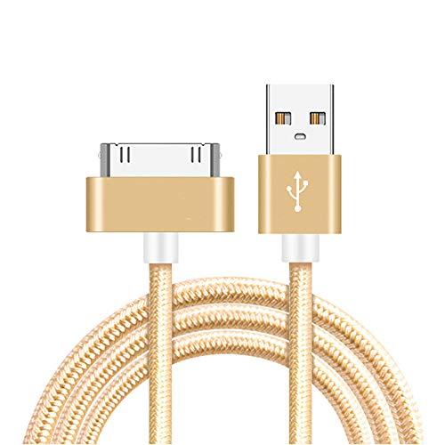 H&T Nylon geflochten 30 Pin auf USB-Synchronisierungs- und Ladedatenkabel, kompatibel für iPhone 4 / 4S / iPhone 3G / 3GS / Ipad 1/2/3 / Ipod / 1M / (2er-Pack),Gold,3.3tt 3gs Ipad 2 Ipod