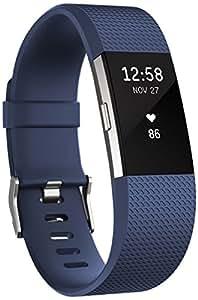 Fitbit Charge 2 Braccialetto Monitoraggio Battito Cardiaco e Attività Fisica, Blu, Taglia S