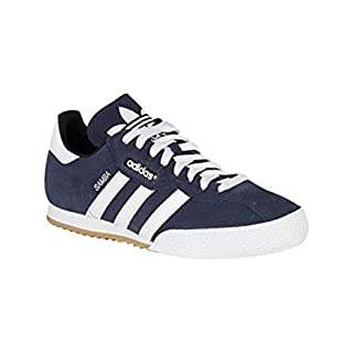 adidas Mens Samba Suede Trainers Lace Up Training Leather Upper Sport Shoes Navy/White UK 8 (42)