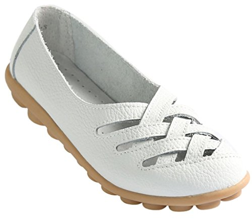 Fangsto Women's Leather Loafers Flats Sandals Slip Ons UK Size 3.5 White