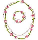 Unbekannt 2 TLG. Set _ Kette + Armband -  Blumen & Blüten - bunt  - aus Holz - Schmuck / Perlenkette - Bunte Holzperlen / Perlen - Kinderschmuck - Halskette - Kinderk..