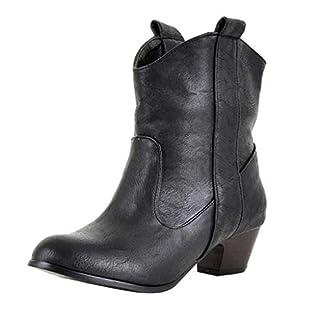 Amcool Damen Stiefeletten Cowboy Western Stiefel Boots Schlupfstiefel Schuhe Lederstiefel