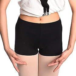 DANCEYOU Elasticità Pantaloncini Corti da Danza Shorts da Yoga Ginnastica Pantaloncino Sportivo in Palestra per Ragazze e Donna Nero M