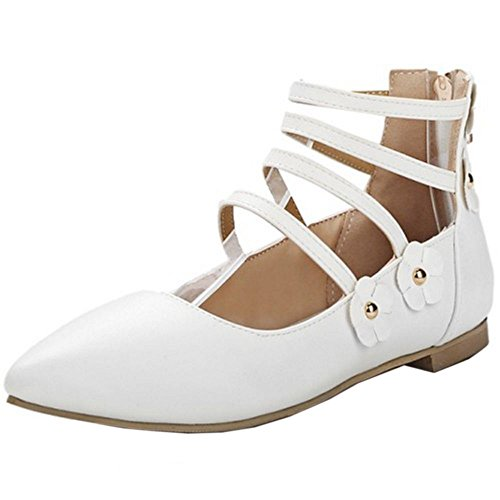 COOLCEPT M?dchen Sweet Schuhe Flach Tochter Pumps for Schule mit Blume White