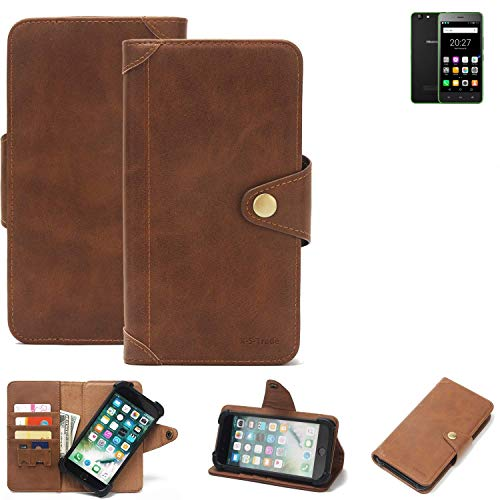 K-S-Trade Handyhülle Hisense Rock Lite Schutzhülle Walletcase Bookstyle Tasche Handyhülle Schutz Case Handytasche Wallet Flipcase Cover PU Braun (1x)