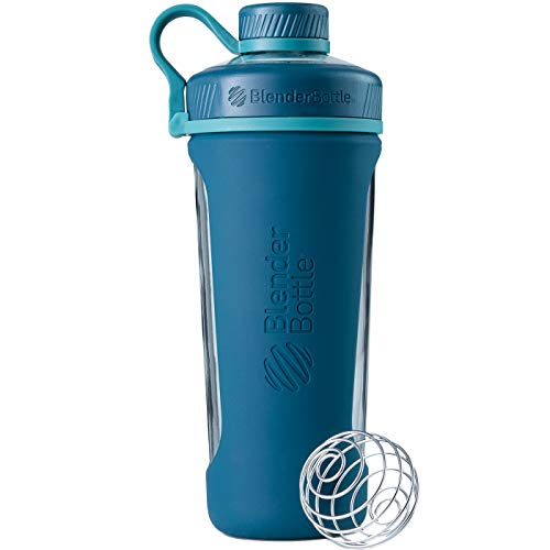 BlenderBottle Radian Wasserflasche| Protein Shaker| Diät Shaker| Fitness Shaker | BPA frei | mit BlenderBall | Glas| Glasflasche mit Silikonhülle - deep sea green, 820ml, skaliert bis 710 ml