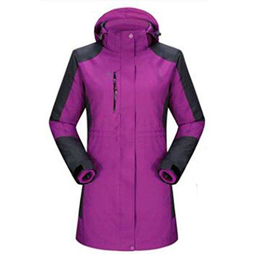 WU LAI Im Freien Jacken Damen Lange Stil DREI In Einem Angeln Kleidung Trekking Mountain Wear Wasserdichte Mäntel,Purple-XXL (Jacke Wear Wu)