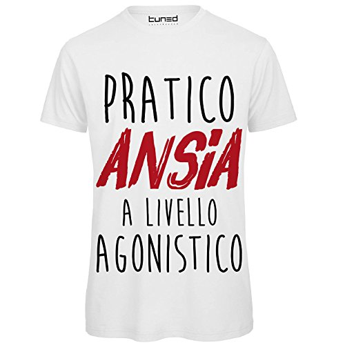 CHEMAGLIETTE! T-Shirt Divertente Uomo Maglietta Cotone con Stampa Frasi Ironiche Pratico Ansia Tuned, Colore: Bianco, Taglia: 3XL