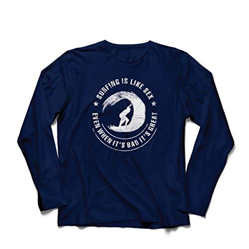 lepni.me Herren T Shirts Surfen ist wie Sex, inspirierender Humor Geschenk für Surfer (XX-Large Blau Mehrfarben)