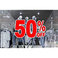 4 x wall window display sale sticker - 50 percent off - red print on white cut out - self adhesive weather proof vinyl sticker label - size - 450mm x 280mm