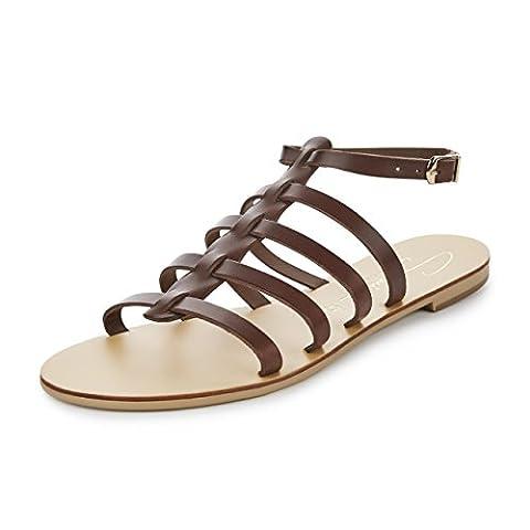 SCHMICK SHOES Hera II: hochwertige Damen Leder Gladiator Sandalen flacher Absatz handgefertigt, Farbe:braun / natural,