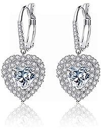 d55b414c3bc9 ZRDMN Pendientes de diamantes con micro-incrustaciones en forma de corazón  con forma de corazón