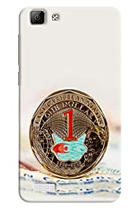 Omnam One Dollar Coin Printed Designer Back Case For Vivo V1